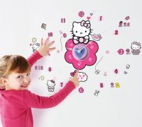 Worlds Apart Wallstickers : Hello Kitty Wallstickers med Ur - Hello Kitty Børneværelse 651001