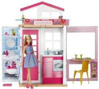 Barbie Dukkehuse : Barbie to etagehus med møbler og dukke - Barbie dukkehuse DVV48