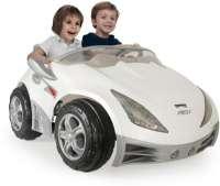 El Biler : Hvid racer Elbil til børn 12V - Injusa Elektrisk bil til børn 752