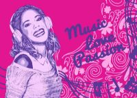 Violetta : Gulvtæppe, Violetta Musik og kærlighed - Børnegulvtæppe Violetta #620417