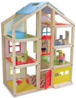Dukkehus : Wooden Hi-Rise Dollhouse - Dukkehus 12462