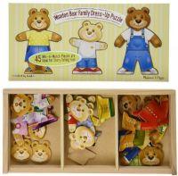 Puslespill : Wooden Bear Family Dress-Up Puzzle - Melissa & Doug legetøj 13770