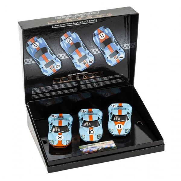 Image of Ford GT40 1968 - Gulf Triple Pack LMTD - Scalextric Racerbiler C3896A (07-C3896A)