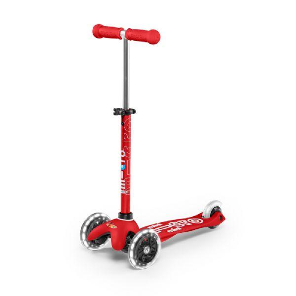 Image of   Micro Mini Deluxe LED Løbehjul, rød - Micro trehjulet løbehjul 574227