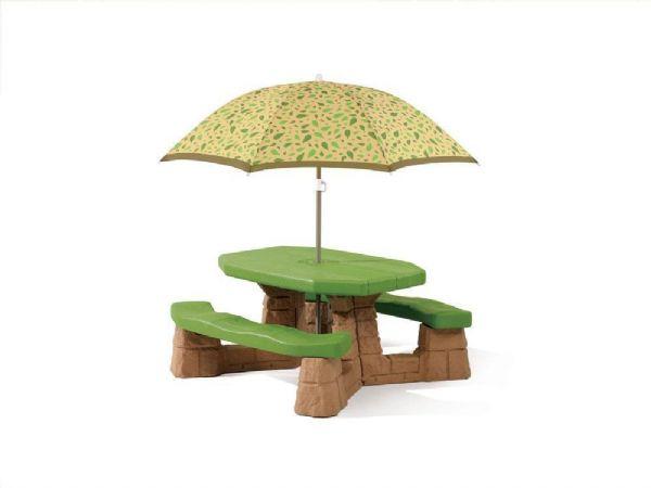 Image of   Step 2 Picnicbord med parasol Grøn/Brun - Have Børnemøbler / Børnebord 787700