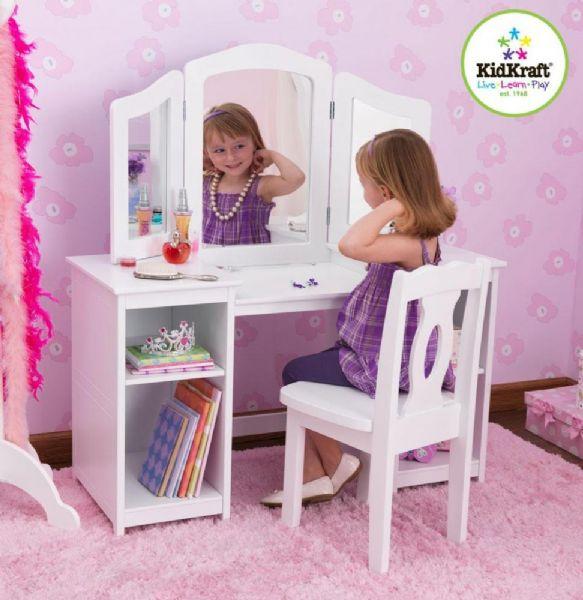 kidkraft – Sminkebord med stol deluxe - kidkraft børnemøbler 13018 på eurotoys
