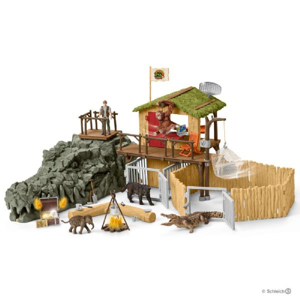 Image of Jungle forskningsstation Krokodille - Schleich 42350 (28-042350)
