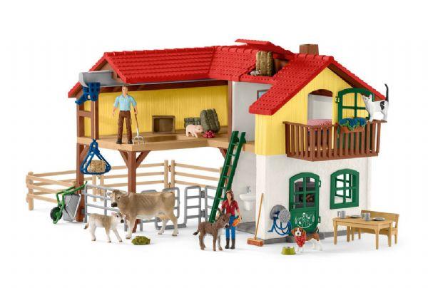 Image of Bondegårdshus med stald og dyr - Schleich bondegård 42407 (28-042407)
