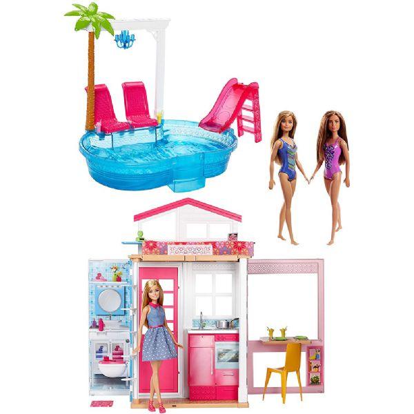 Image of   Barbie Kæmpe Pool Party m. 3 dukker - Barbie playset og dukker FXN66