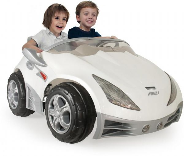 Hvid Racer Elbil Til Børn 12V - Injusa Elektrisk Bil Til Børn 752