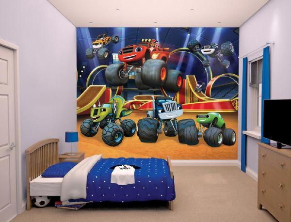 Image of Blaze and the Monster machines Tapet - Walltastic Blaze 3D børnetapet 44524 (358-044524)
