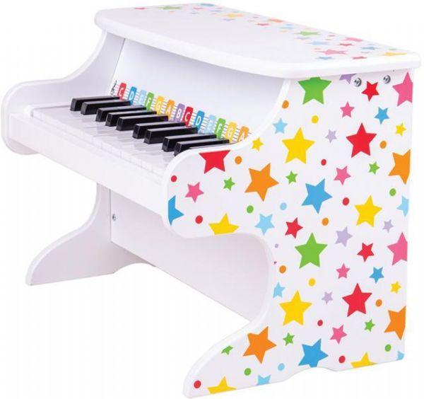 Image of Hvidt klaver med stjerner - Bigjigs klaver 000927 (380-000927)
