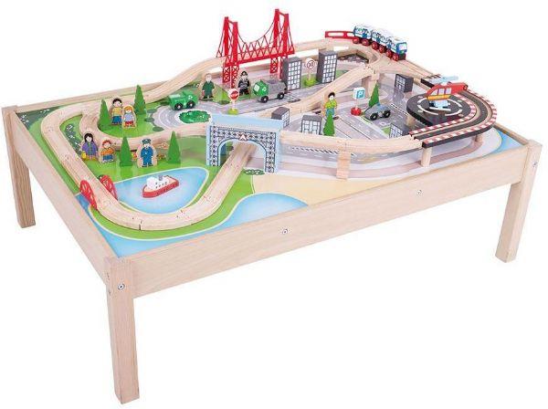 Image of Legebord med togbane 59 dele - Bigjigs Togbane 090459 (380-090459)