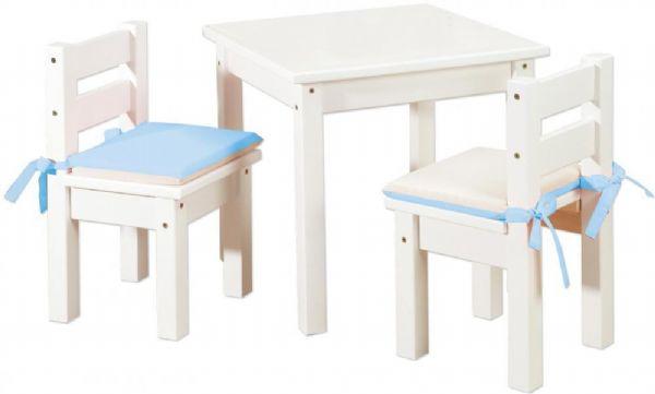 Image of   Møbelsæt, 2 stk børnestol & 1 bord Hvid - Børnebord / Børnemøbler 101404