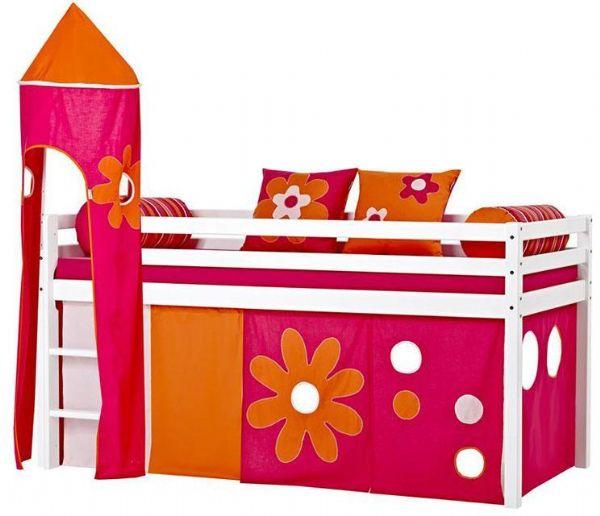 Halvhøj seng 90x200 cm - Hoppekids Flower Power Seng 102410 - Børneseng - Hoppekids