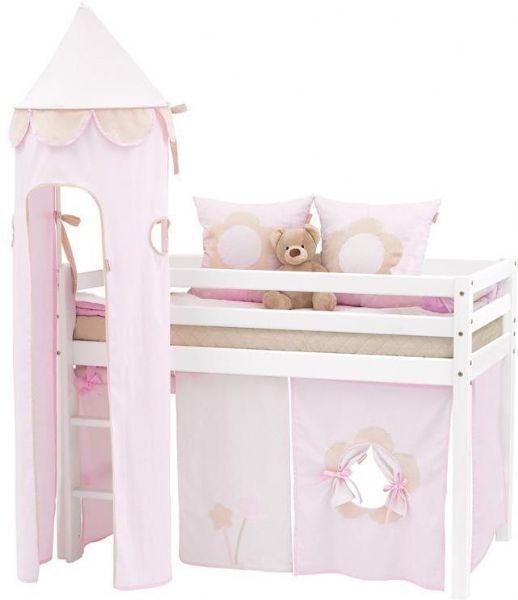 Halvhøj seng 70x190 cm - Hoppekids Fairytale Flower Seng 102804 - Børneseng - Hoppekids