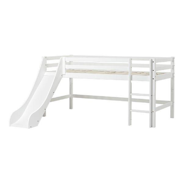 Halvhøj seng m/rutsjebane 90x200 cm - Hoppekids sengeramme 109917 - Børneseng - Hoppekids
