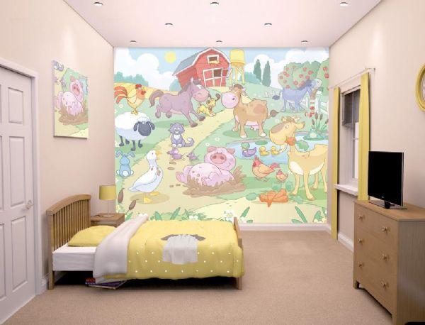 Image of Sjov på gården tapet - Walltastic Bondegård 3D børnetapet 40601 (451-040601)