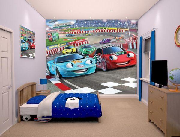 Image of Racerbiler tapet - Walltastic racerbil 3D børnetapet 41721 (451-041721)