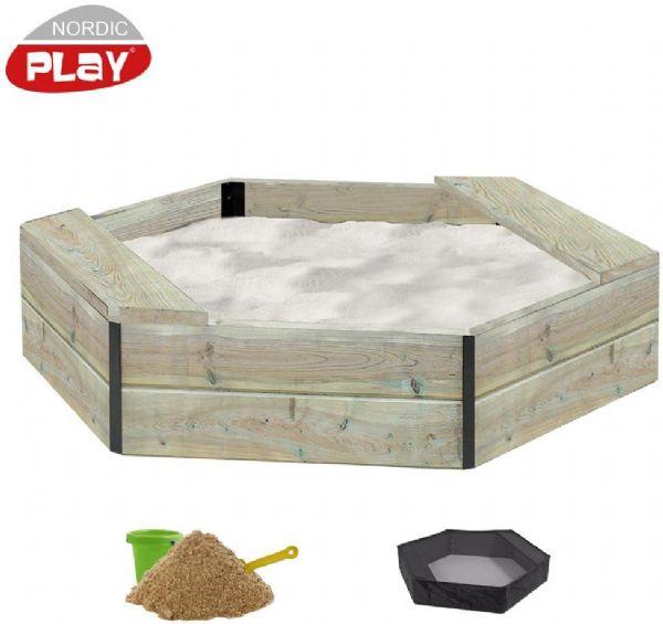 Image of   6-kantet sandkasse i træ inkl. net og sa - Nordic Play sandkasser 805732
