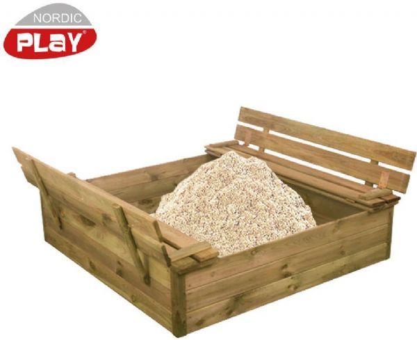 Image of Sandkasse m/ bænk & låg, inkl. sand - Nordic Play sandkasser 805733 (460-805733)