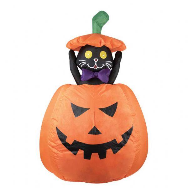 Image of   Oppustelig kat i græskar - Halloween store dekorationer 91470