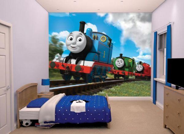 Image of Thomas Tog Tapet - Walltastic Thomas 3D børnetapet 43879 (65-043879)